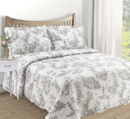 FRENCH COUNTRY COTTAGE QUILTED BEDSPREAD COMFORTER SET FLORAL TOILE DE JOUY GREY